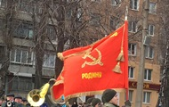 In Krivoy Rog the military paraded with Soviet flags