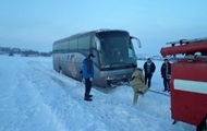 Near Kiev into a skid the bus with foreigners