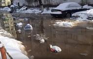 В Киеве на Оболони затопило дорогу