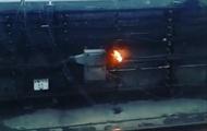 Появилось видео возгорания в киевском метро