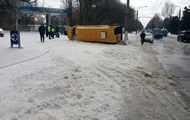 In Zaporozhye overturned bus with passengers