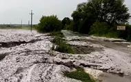 В Кировоградской области град образовал сугробы