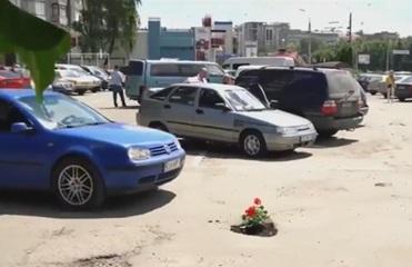 В Черновцах посадили цветы в ямах на дороге