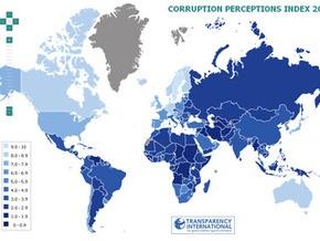 Украина заняла 146-е место в рейтинге коррумпированности Transparency International