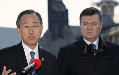 Генсек ООН высоко оценил усилия Януковича по преодолению политического кризиса - МИД Украины