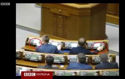 При голосовании за отставку Кожары и Табачника были замечены факты  кнопкодавства