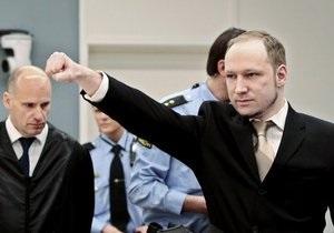 Суд по делу Брейвика продолжится завтра