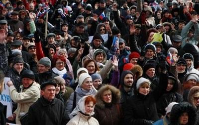 Призывы против фашизма. Как прошел пророссийский митинг в Донецке