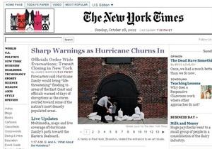The New York Times приостановил платное пользование сайтом на время урагана Сэнди
