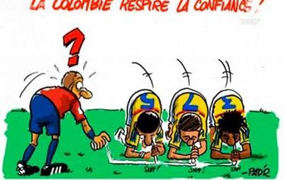 В Бельгии опубликовали карикатуру на игроков Колумбии, нюхающих на поле кокаин