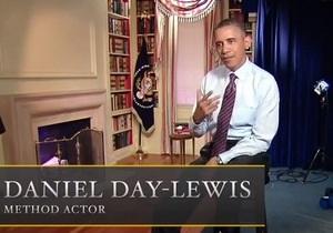 Обама в пародийном ролике Спилберга сыграл звезду фильма Линкольн