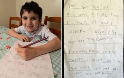 Шестирічний хлопчик попросив Жозе Моурінью очолити Астон Віллу