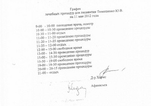 Тимошенко будет проходить семь лечебных процедур в день