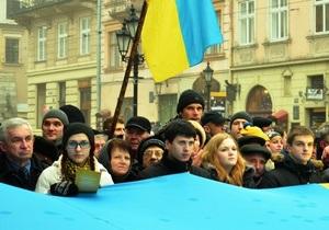 новости Львова - Во Львове массово спели гимн Украины