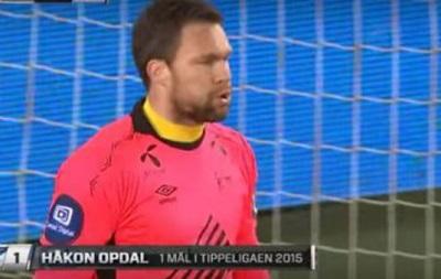В Норвегии вратарь забил со своей половины поля