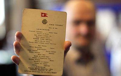 Последнее меню  Титаника  ушло с молотка за 88 тысяч долларов