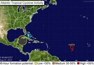 В Атлантическом океане усиливается тропический шторм Катя