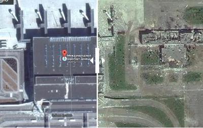 Донецкий аэропорт до и после войны: вид из космоса