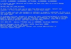 Последнее обновление для Windows приводит к  синему экрану смерти