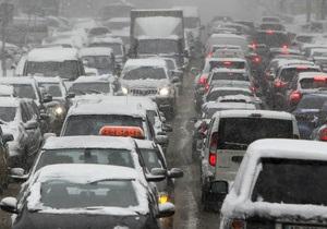 Трасса Киев-Москва - снег - пробки - дороги - На трассе Киев-Москва в пробке стоят 650 грузовиков