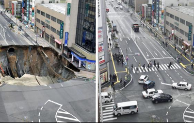 В Японии за 48 часов восстановили дорогу от обвала