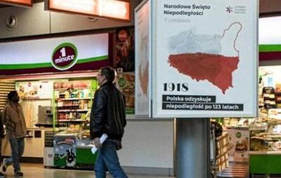 В аэропорту Варшавы повесили карту с польскими Львовом и Вильнюсом