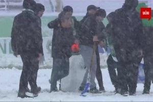 Болельщики Карпат сделали снеговика прямо на поле