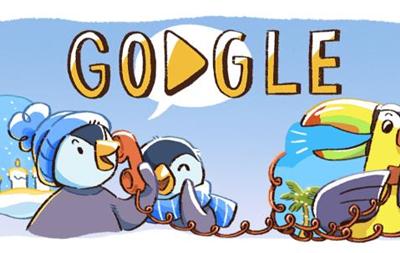 Google створив новорічний дудл про сім ю пінгвінів