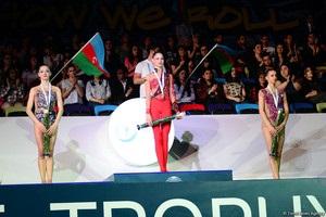 Как в Баку звучал гимн в честь 15-летней украинской гимнастки