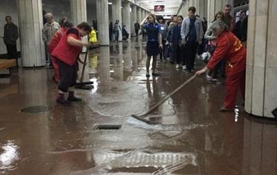 В Харькове вода залила станцию метро