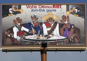 В США неизвестный заказчик разместил на билборде жесткую карикатуру на Обаму