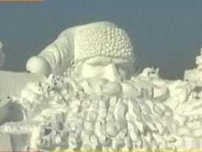 В Китае соорудили гигантского снежного Санту