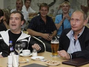Путин и Медведев вместе посмотрели матч Россия - Аргентина
