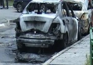 В Запорожье на стоянке банка сгорели семь изъятых за долги автомобилей