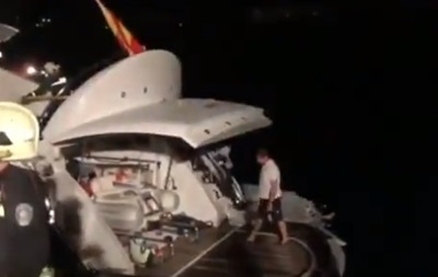 Появилось видео спасения Кличко с горящей яхты