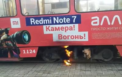 Во Львове на ходу загорелся трамвай