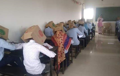 В Індії студенти здавали іспит з коробками на головах