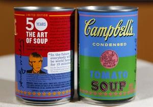 В США начали продавать томатный суп в консервных банках с дизайном Энди Уорхола
