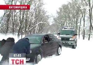 В Житомирской области из-за сильных снегопадов 12 сел остаются без автотранспортного сообщения