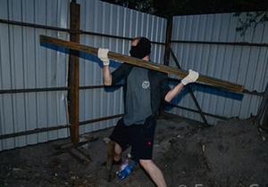 новости Киева - застройка - стройка - улица Тверская,16 - Киевляне снесли забор на стройке по улице Тверской