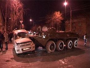 В Ингушетии пьяный солдат на БТР выехал на встречную и раздавил два ВАЗа