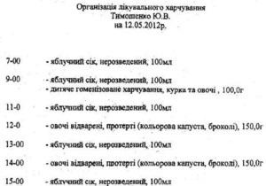 Обнародовано меню Тимошенко