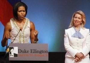 Супруги Медведева и Обамы посетили школу искусств в Вашингтоне