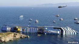 Пропавших на борту Costa Concordia ищут водолазы
