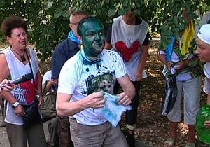 Троих депутатов Батьківщини в Харькове облили зеленкой