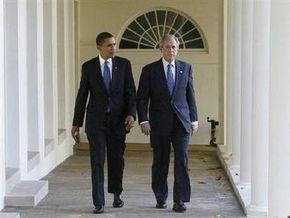 Обама прибыл на встречу с Бушем в Белом доме