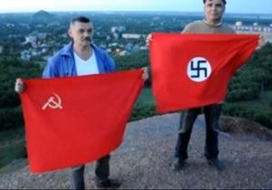 Двое донецких шахтеров сожгли на терриконе красные флаги