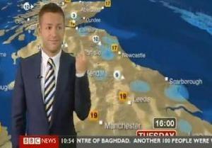 Ведущий Би-би-си в прямом эфире показал средний палец