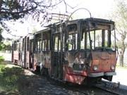 В Евпатории сгорел трамвай