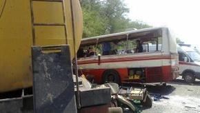 Возросло число жертв столкновения автобуса и бензовоза в России